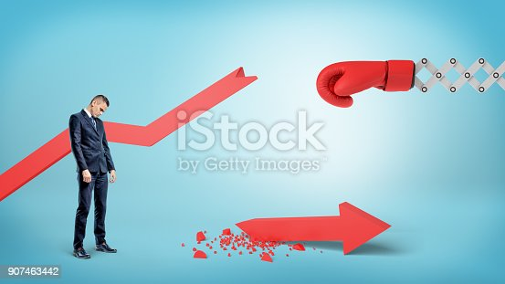 160558362 istock photo A sad businessman stands near a broken red statistic arrow with a boxing glove on a spring near it 907463442