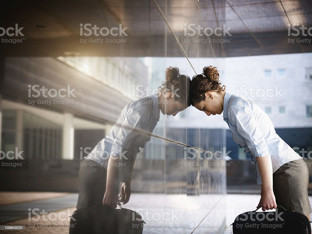 sad businesswoman stock photo
