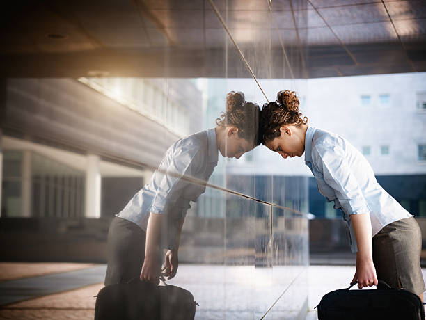 sad businesswoman stock photo