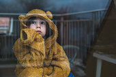 istock Sad child in isolation at home 1218855217