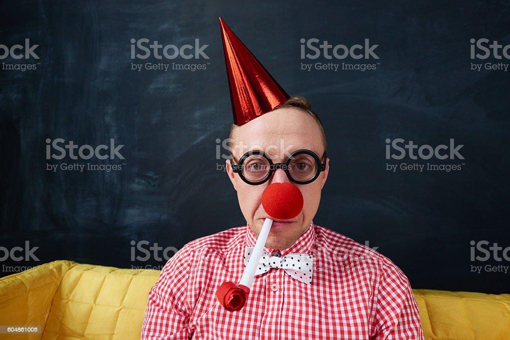 Sad clown stock photo