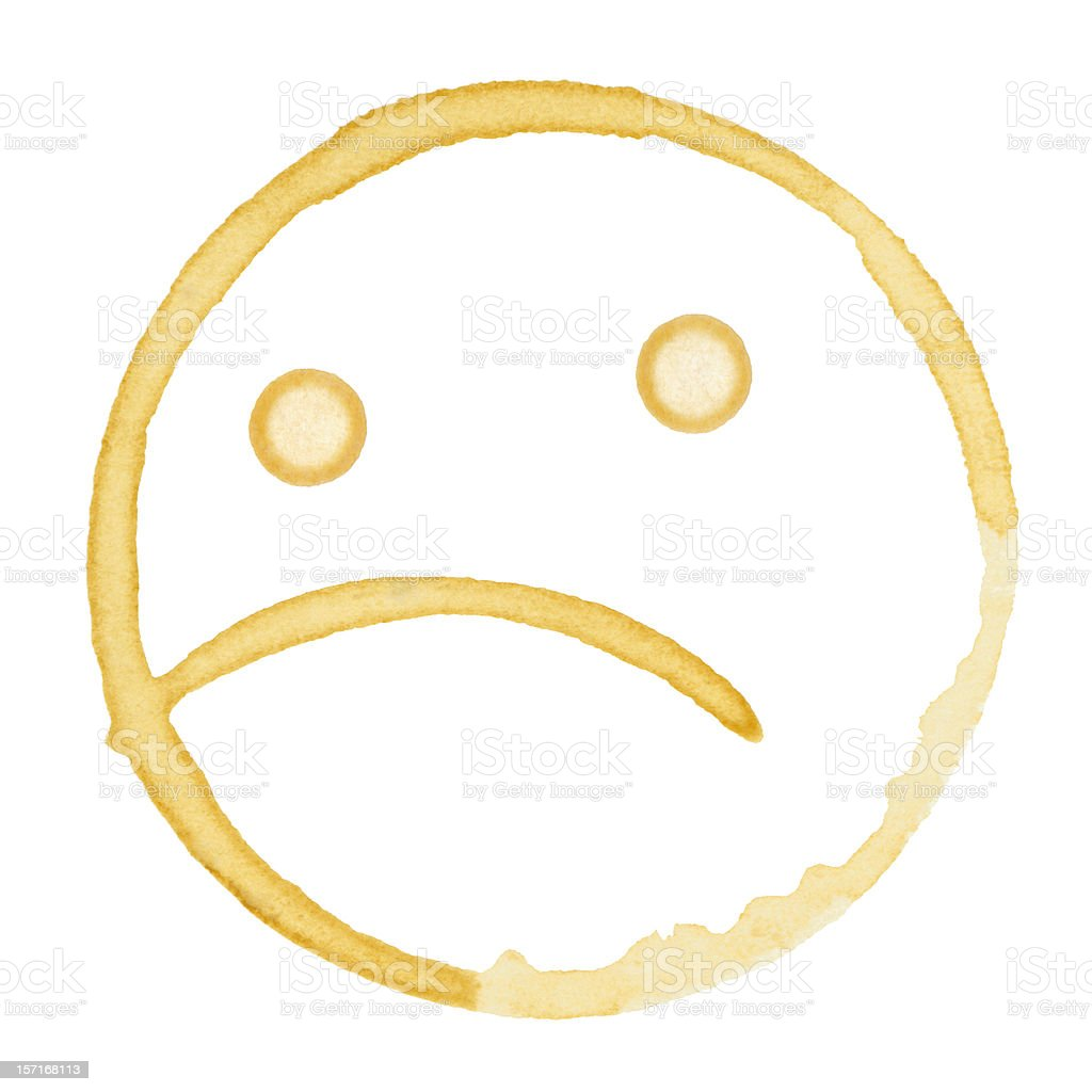Sad Coffee Stain Isolated on a Pure White Background stock photo
