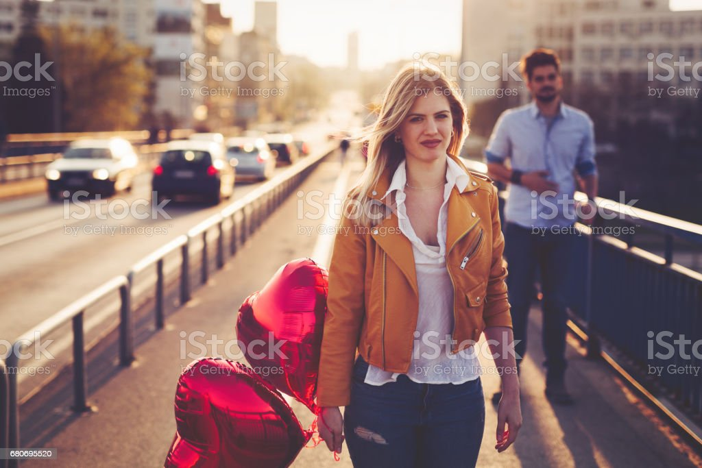 Sad couple breakup relationship after argument stock photo