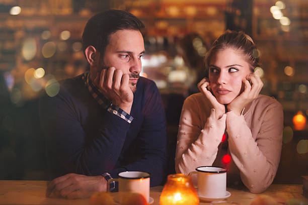 sad couple having a conflict - fighting stock photos and pictures