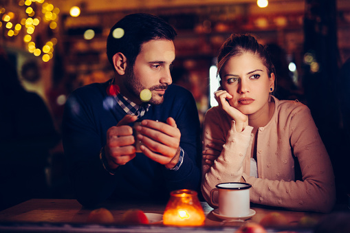 Sad Couple Having Conflict And Relationship Problems Stock Photo - Download Image Now
