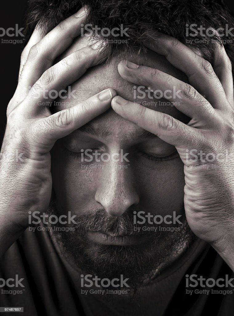 Sad depressed and lonely man royalty-free stock photo