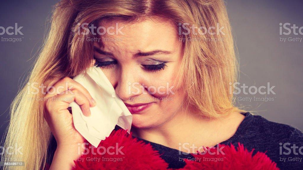 Sad Depressed Woman Crying Having Depression Stock Photo ...