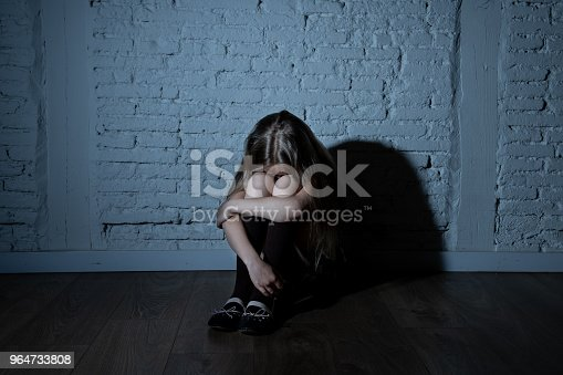 istock Sad desperate young girl suffering from bulling and harassment at school 964733808