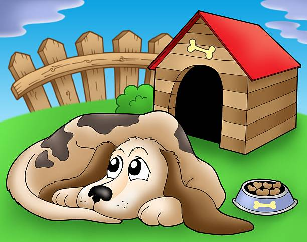 sad dog in front of kennel 1 - sad cartoon images stock photos and pictures
