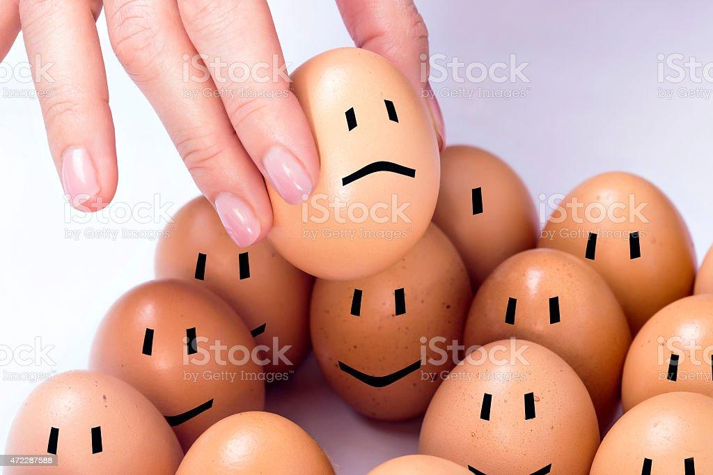Sad egg stock photo