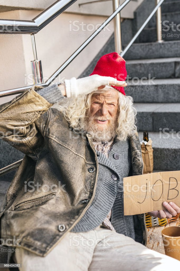 Sad elderly man being jobless royalty-free stock photo