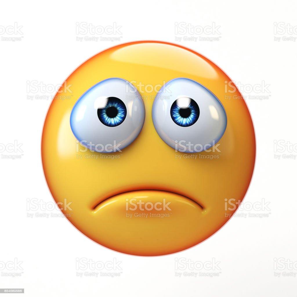 Sad emoji isolated on white background, depressed emoticon stock photo