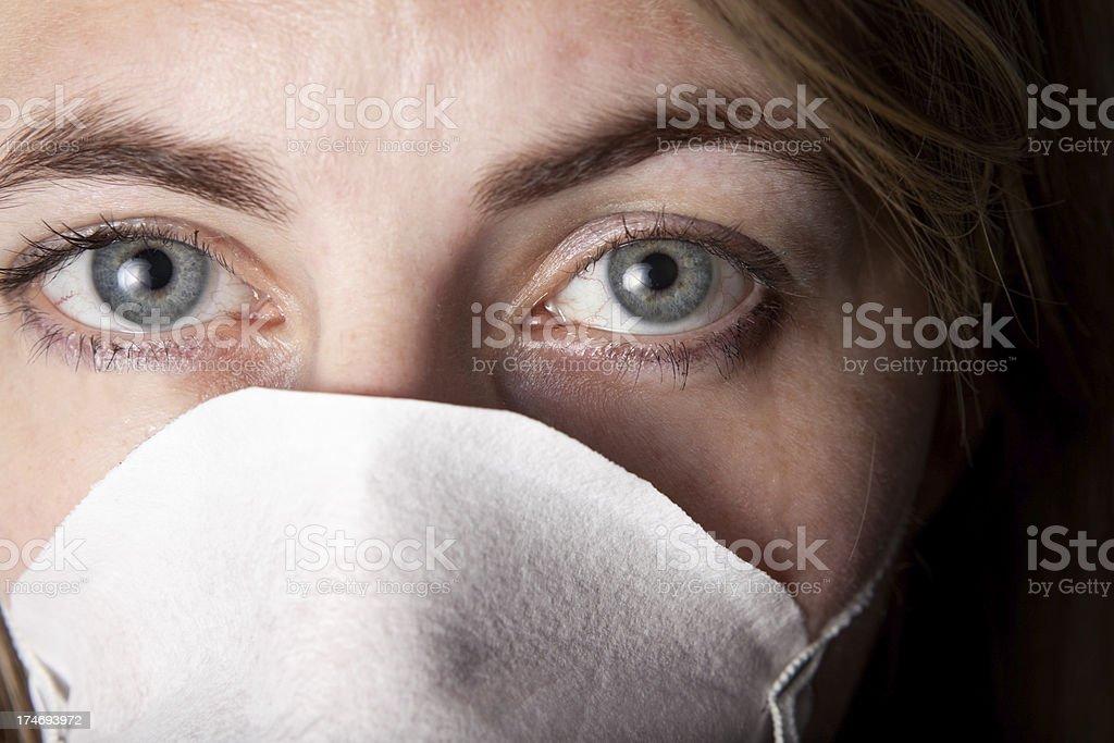 Sad Eyes Germ Mask royalty-free stock photo