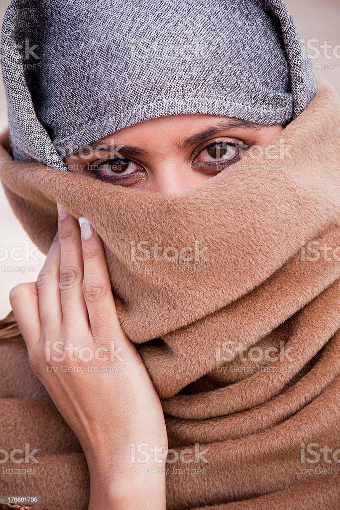 Sad Eyes os a Muslim Girl stock photo