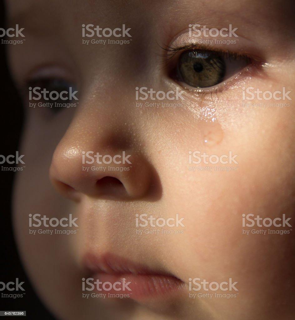 Bebé Cara Triste Una Lágrima En La Cara Foto De Stock Y Más Banco De