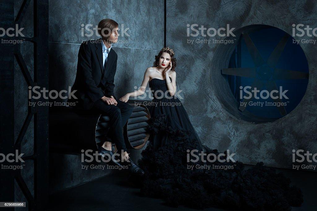 Sad faces Man and Queen. stock photo