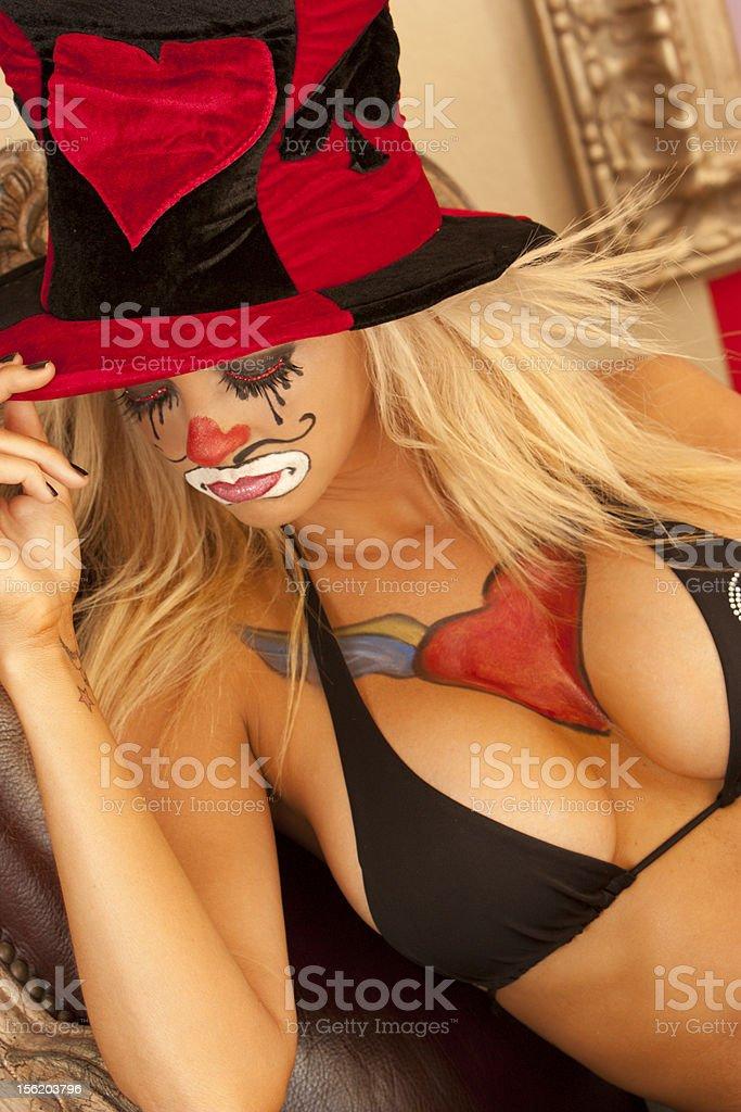 sad female clown eyes closed royalty-free stock photo