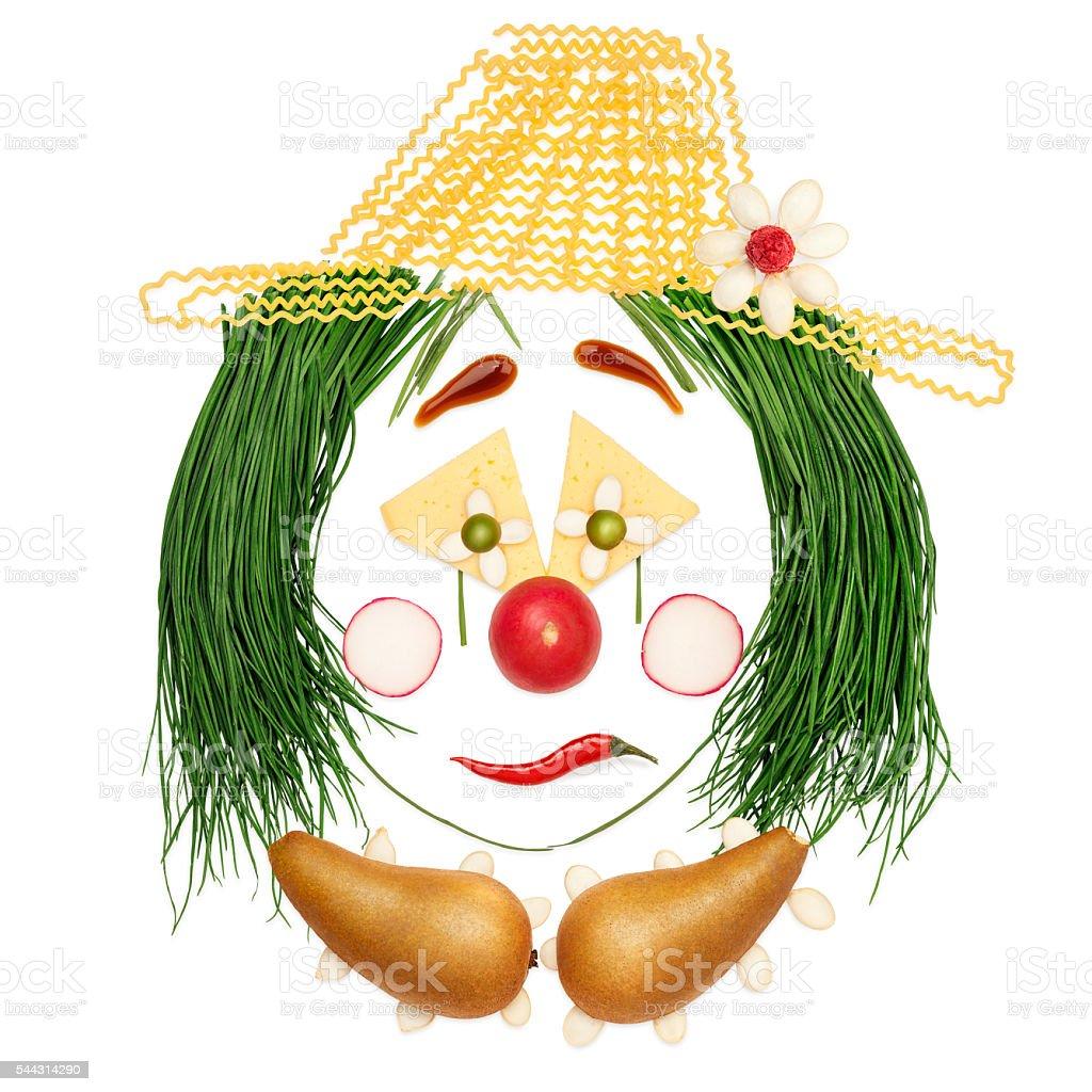 Sad fruity clown. stock photo