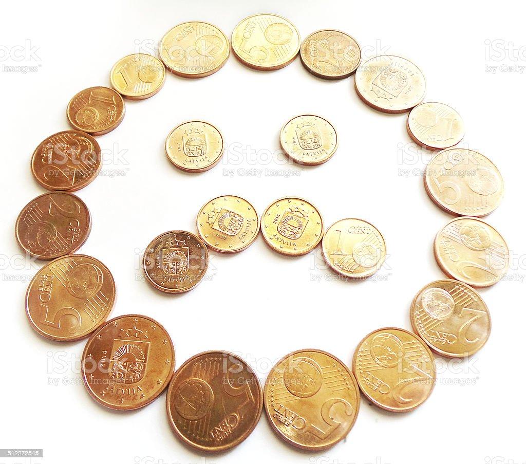 57219901dc Triste divertente fece di denaro con monete in Euro e centesimi foto stock  royalty-free