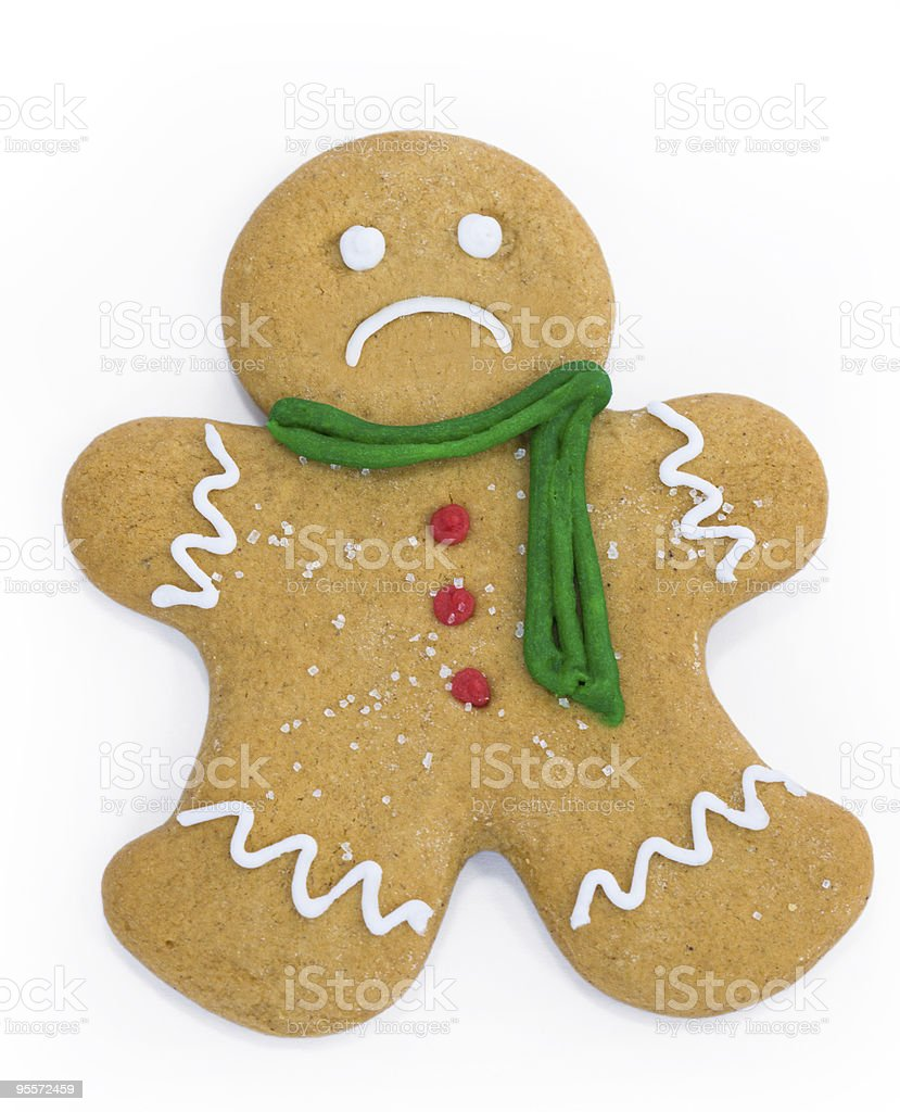 Sad gingerbread man stock photo