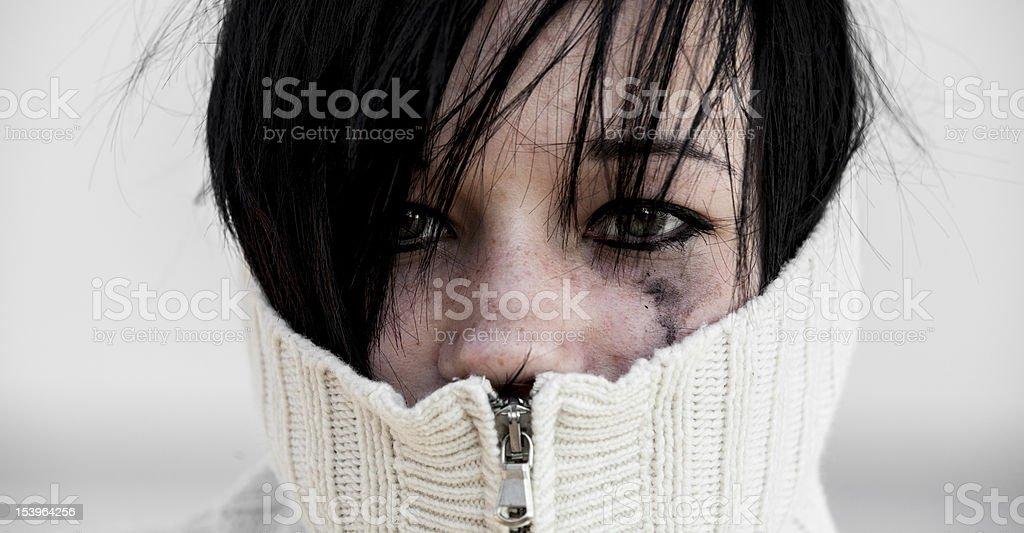Sad girl in sweater. royalty-free stock photo