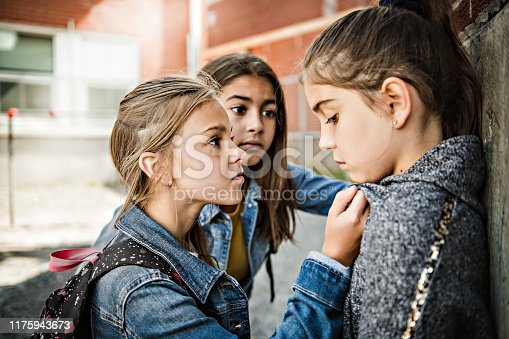 A sad girl intimidation moment Elementary Age Bullying in Schoolyard