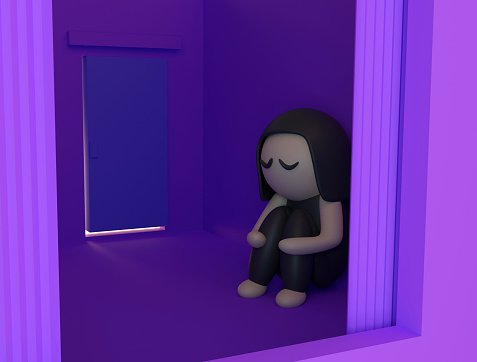 istock Sad girl sitting alone in an empty room. Neglected and abandoned concept, loneliness, childhood problems, teenage years. 3d render 1265627446