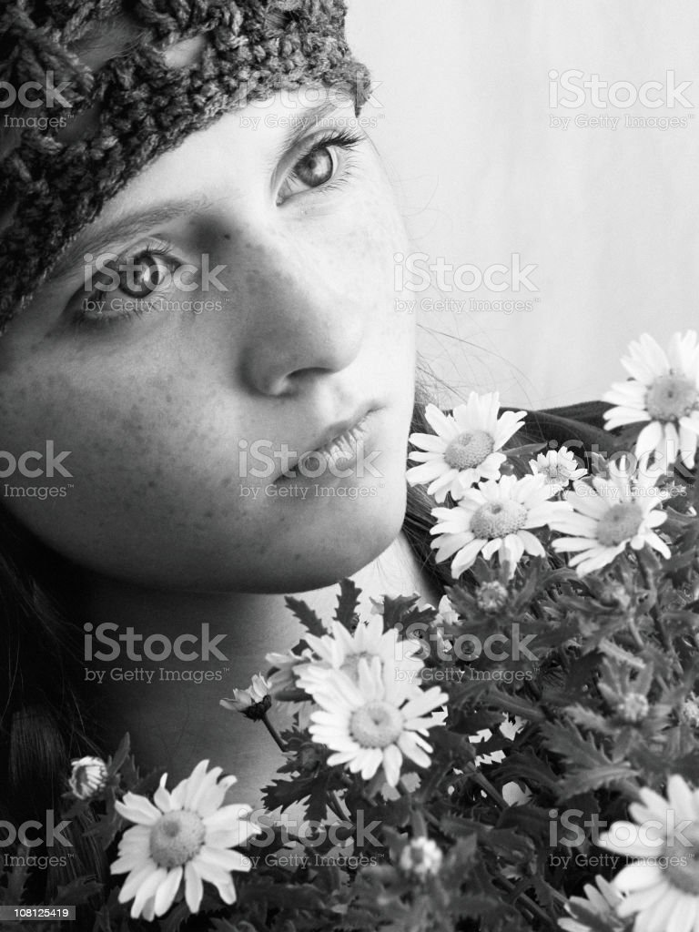 Sad Girl with Flowers royalty-free stock photo