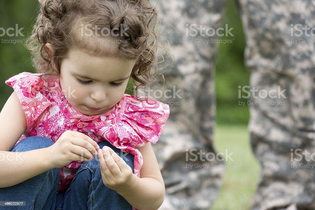 sad girl with soldier royalty-free stock photo
