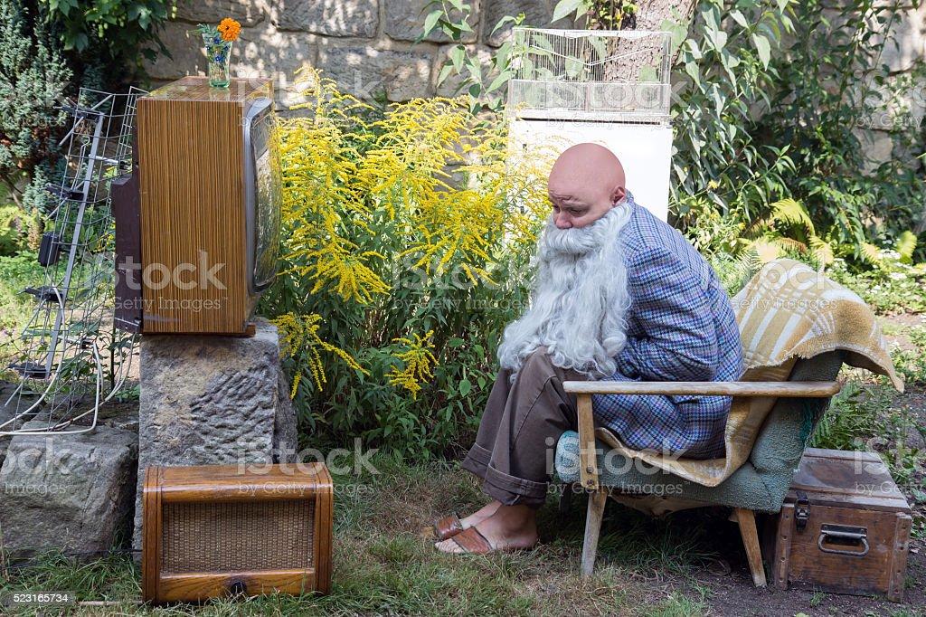 sad grandfather stock photo
