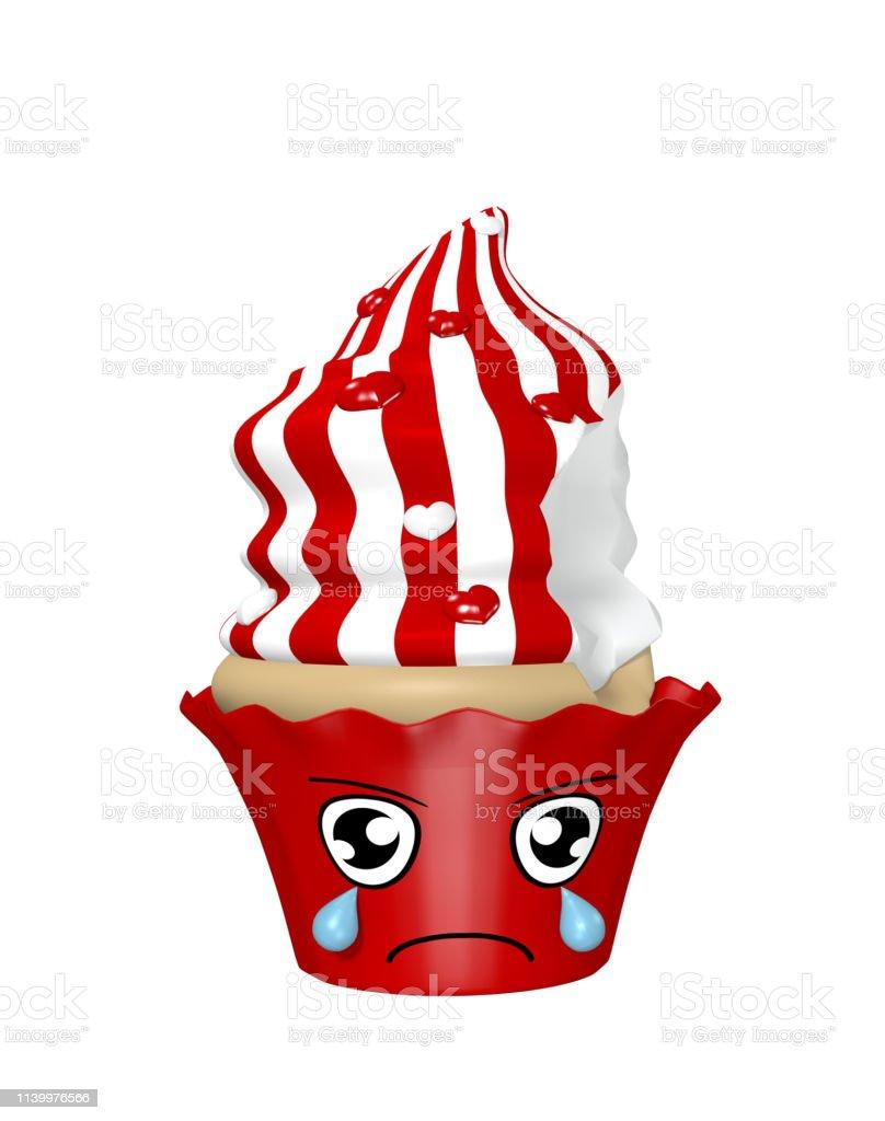 Traurige kawaii-Charakter als Cupcakes isoliert auf weiß. – Foto
