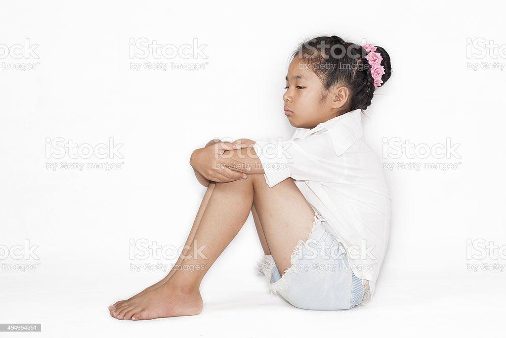Sad Little Girl Sitting On The Floor Stock Photo  More -4695