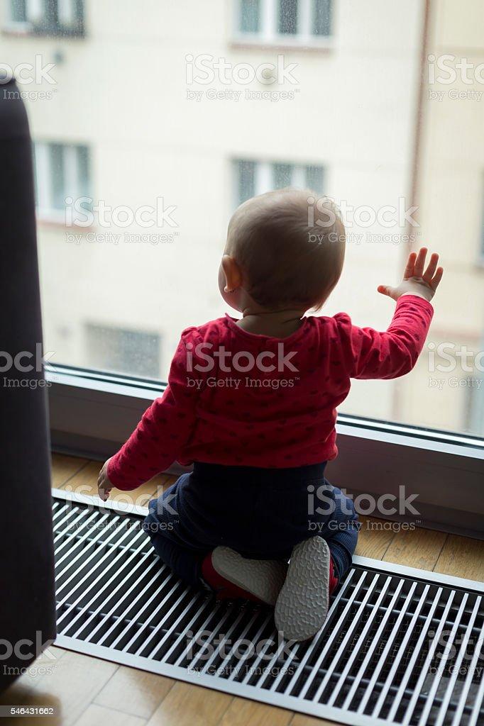 sad lonely child stock photo