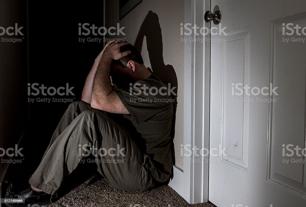 Sad lonely male stock photo