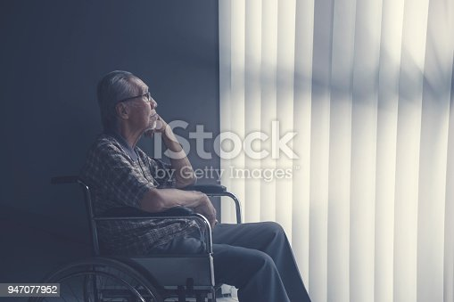istock Sad lonely senior man sitting on wheelchair 947077952