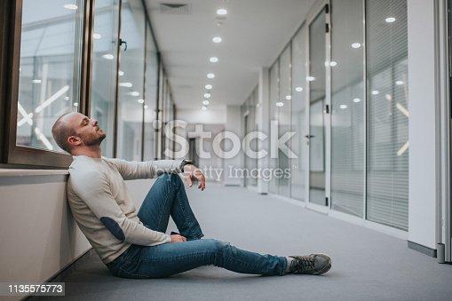 626916886istockphoto Sad male businessman thinking outside his office 1135575773