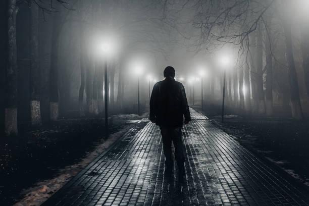 droevige mens alleen die langs de steeg in nacht mistig park loopt. achteraanzicht - moordenaar stockfoto's en -beelden