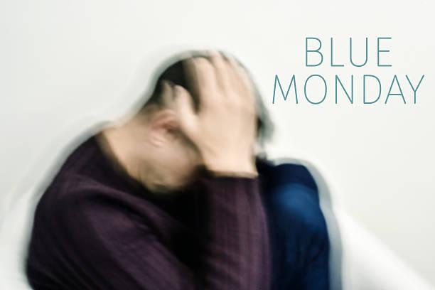 sad man and text blue monday - blue monday foto e immagini stock