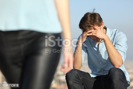 istock Sad man complaining outdoors after break up 1091712618