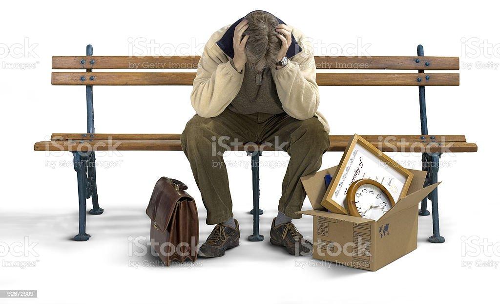 Sad man on a bench royalty-free stock photo