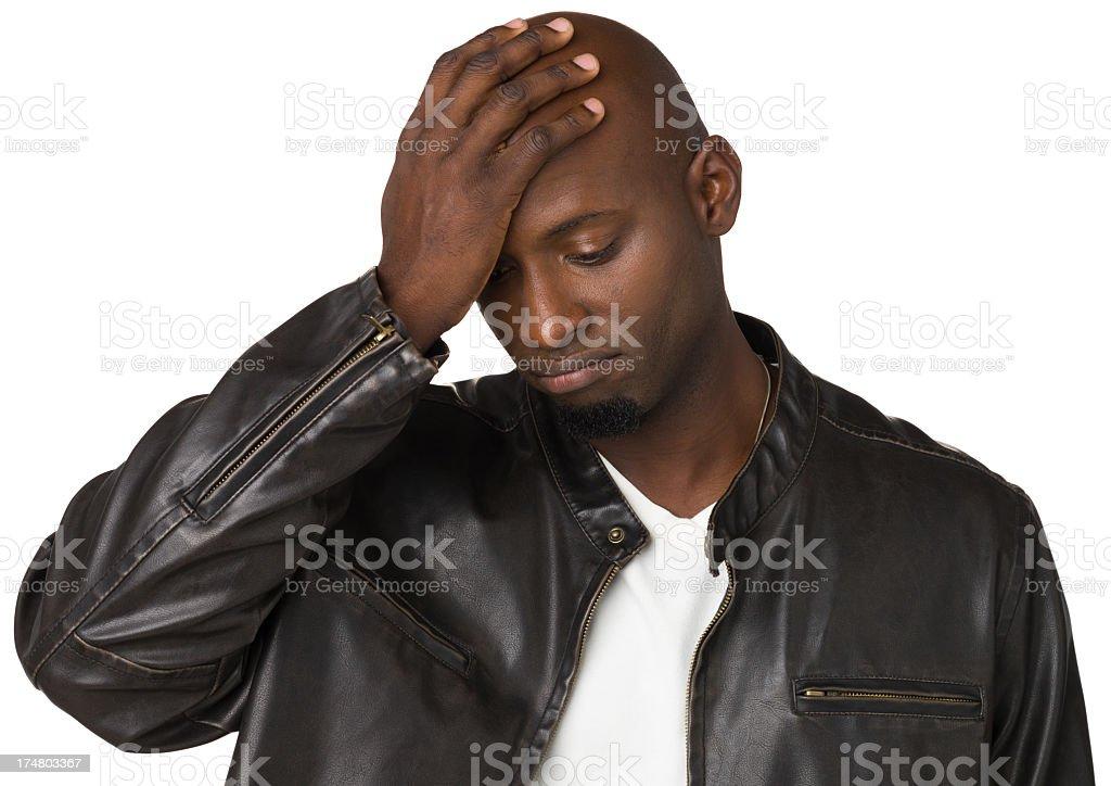 Sad Man With Hand On Head royalty-free stock photo