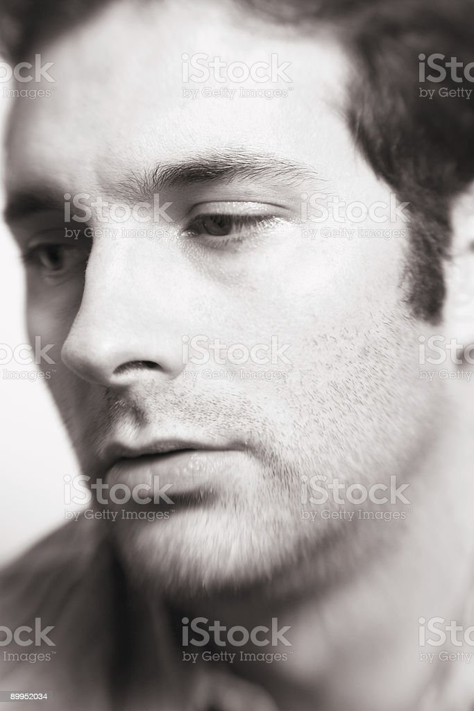 Sad Man's Face stock photo