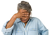 istock Sad Mature Woman Holds Hand Over Face 174851644