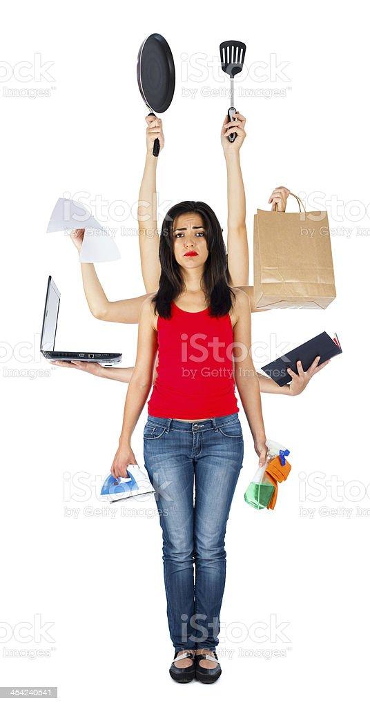 Traurige Frau Multitasking – Foto