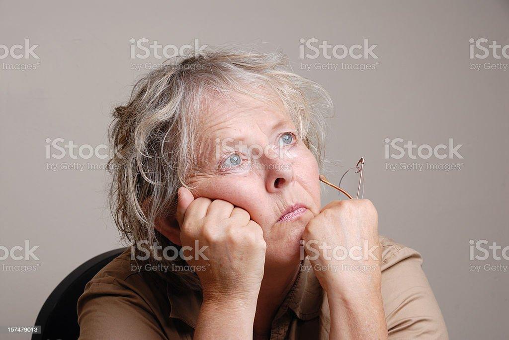 sad pensive senior  woman royalty-free stock photo