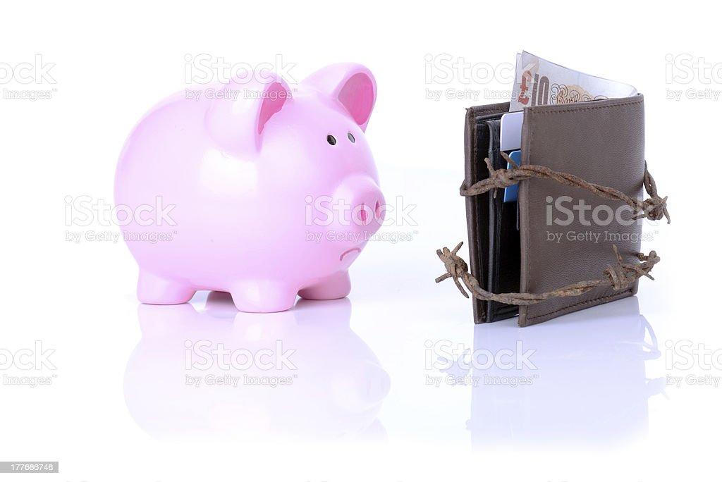 sad pig no money royalty-free stock photo