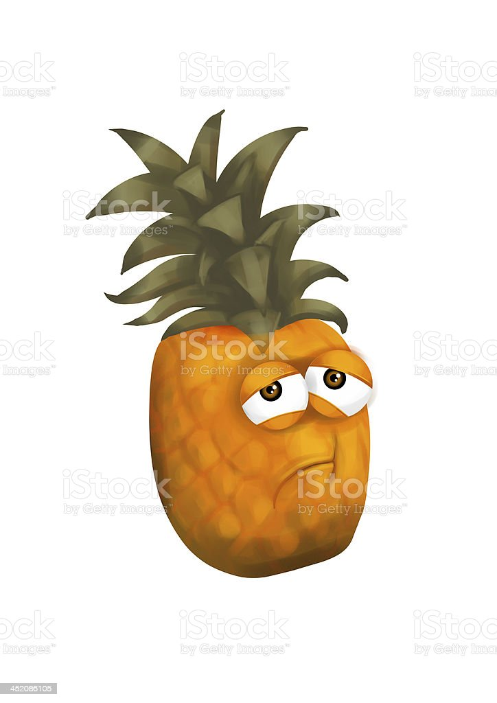Sad Pineapple Disappointed Fruit Cartoon Character With ...