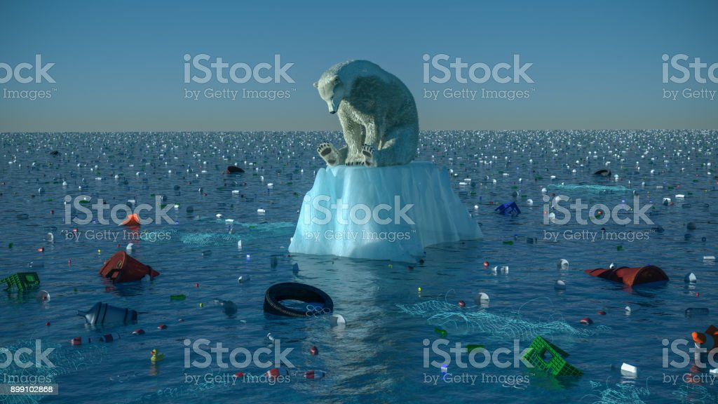 Sad Polar Bear High resolution digital image depicting a single, sad, dirty polar bear, floating on a dwindling chunk of ice, in the center of vast ocean garbage patch. Image is intended to illustrate themes like environmental degredation, ocean pollution, habitat loss, global warming, and climate change in general. Accidents and Disasters Stock Photo