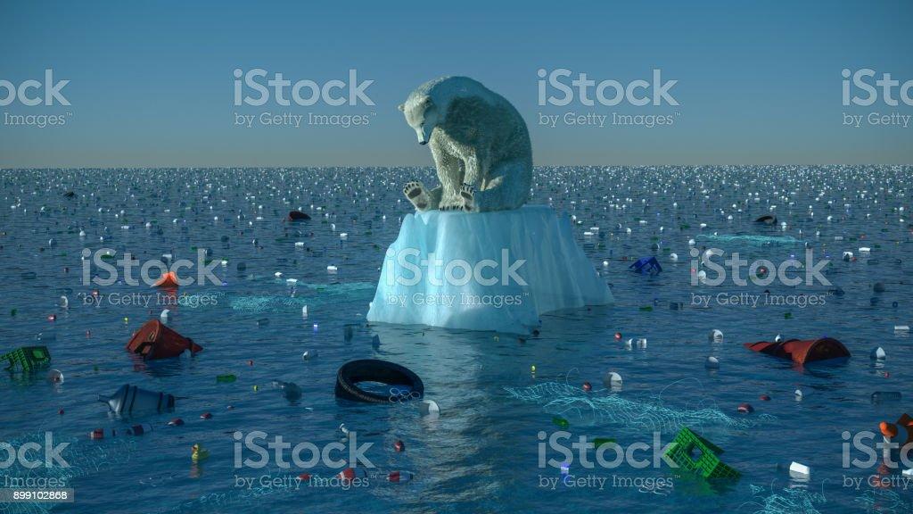 Sad Polar Bear stock photo