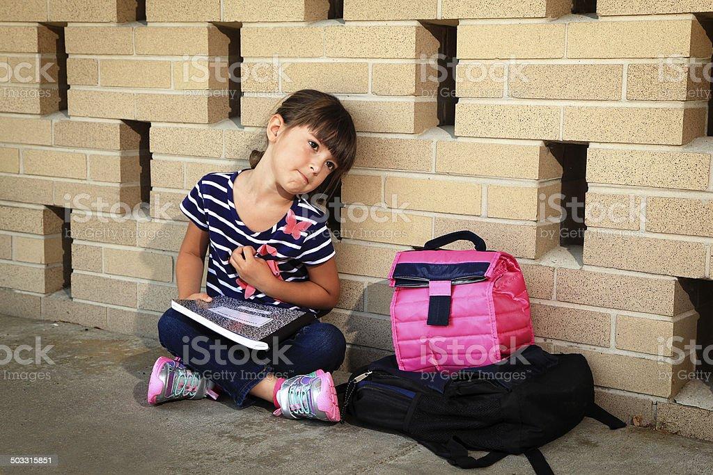 Sad Schoolgirl stock photo